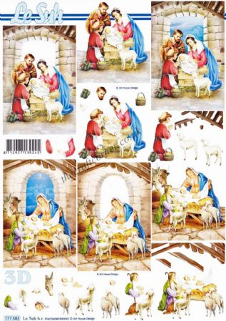 Christmas Nativity Scenes 3d Decoupage Sheet